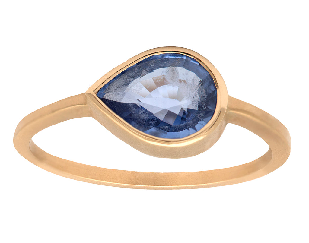 2.15ct Pear Sapphire & 18K Yellow Gold Bezel Ring