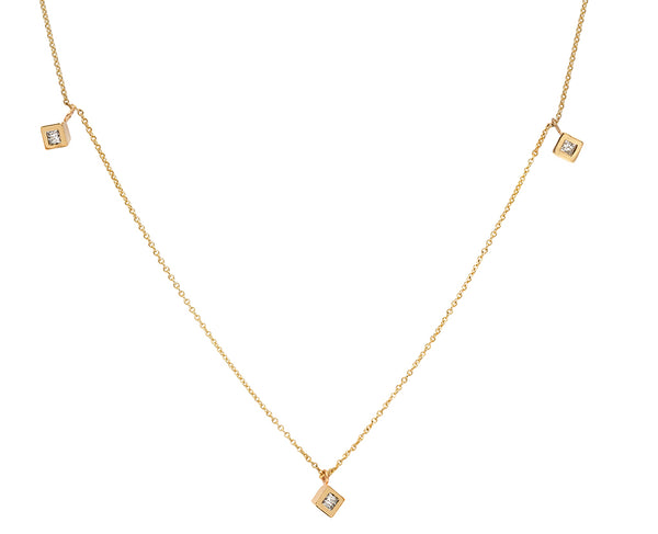 Triplet Princess Diamond Gold Necklace