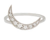 White Diamond Crescent Moon & White Gold Ring