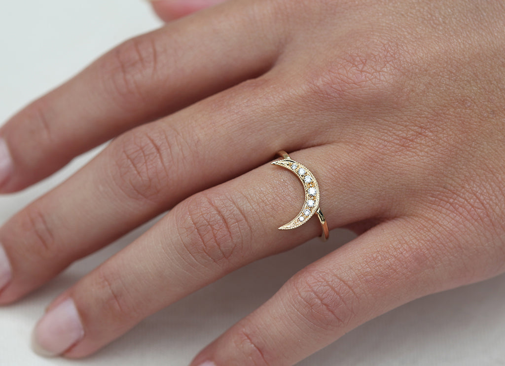 Yellow Gold & White Diamond Crescent Moon Ring