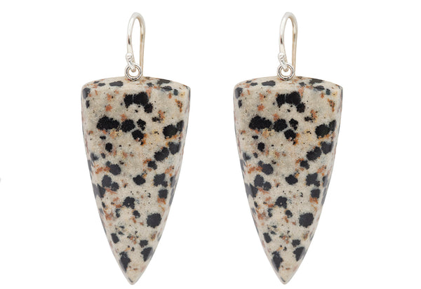 Dalmatian Jasper Drops & Sterling Silver Hook Earrings