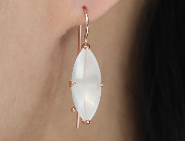 Frosted White Quartz Navette & Yellow Gold Drop Earrings