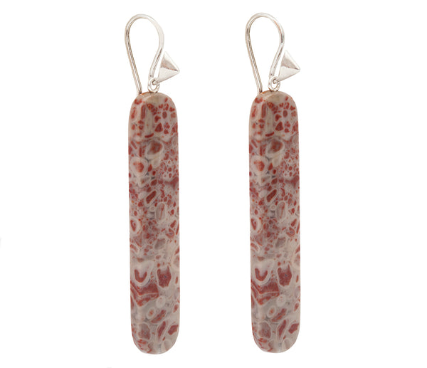 Grey and Red Chinese Flower Jasper & Sterling Silver Thorn Hook Earrings