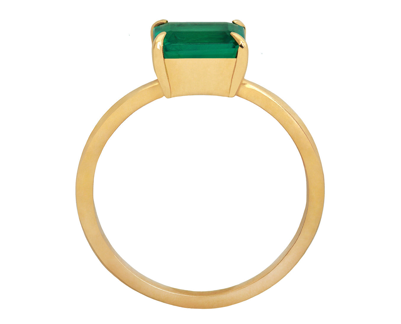 1ct Emerald Cut Colombian Emerald & Gold Ring