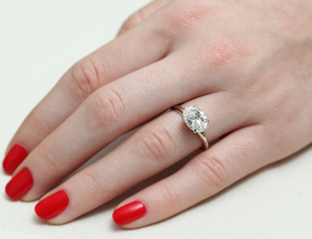 Platinum Oval Solitaire White Diamond Ring – Gillian Conroy Jewelry