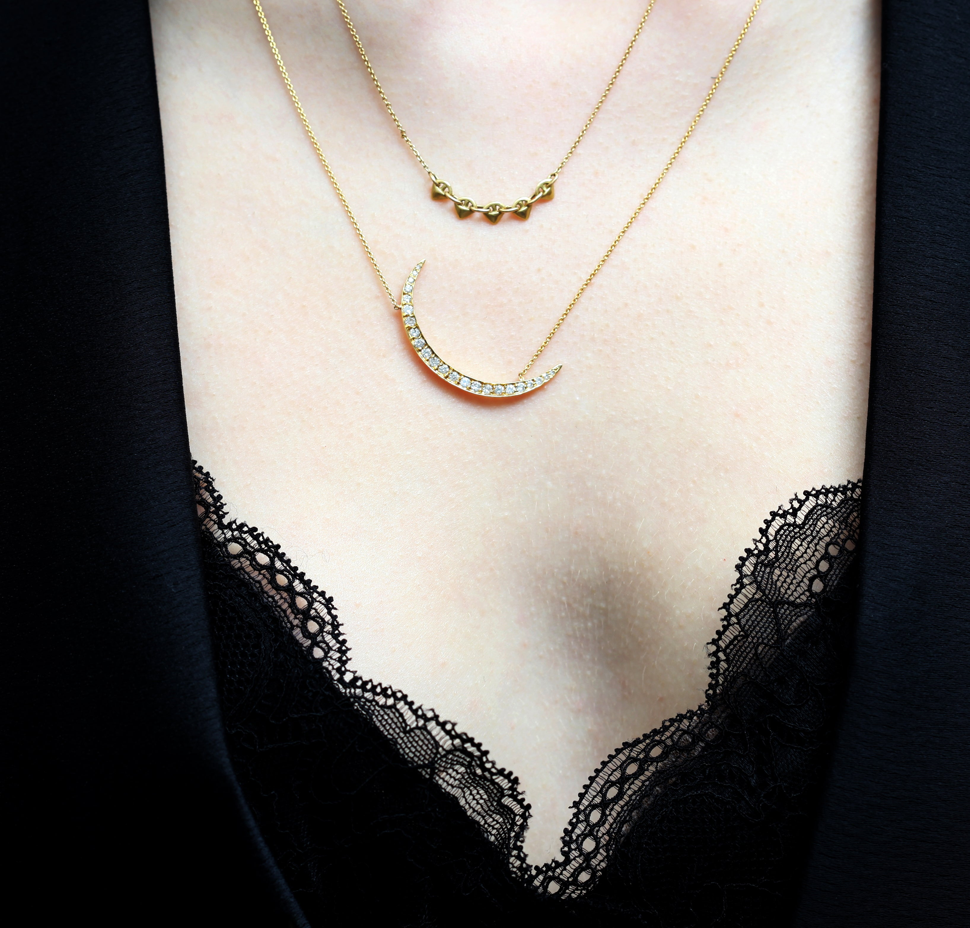 Large Diamond Crescent Moon Rose Gold Necklace