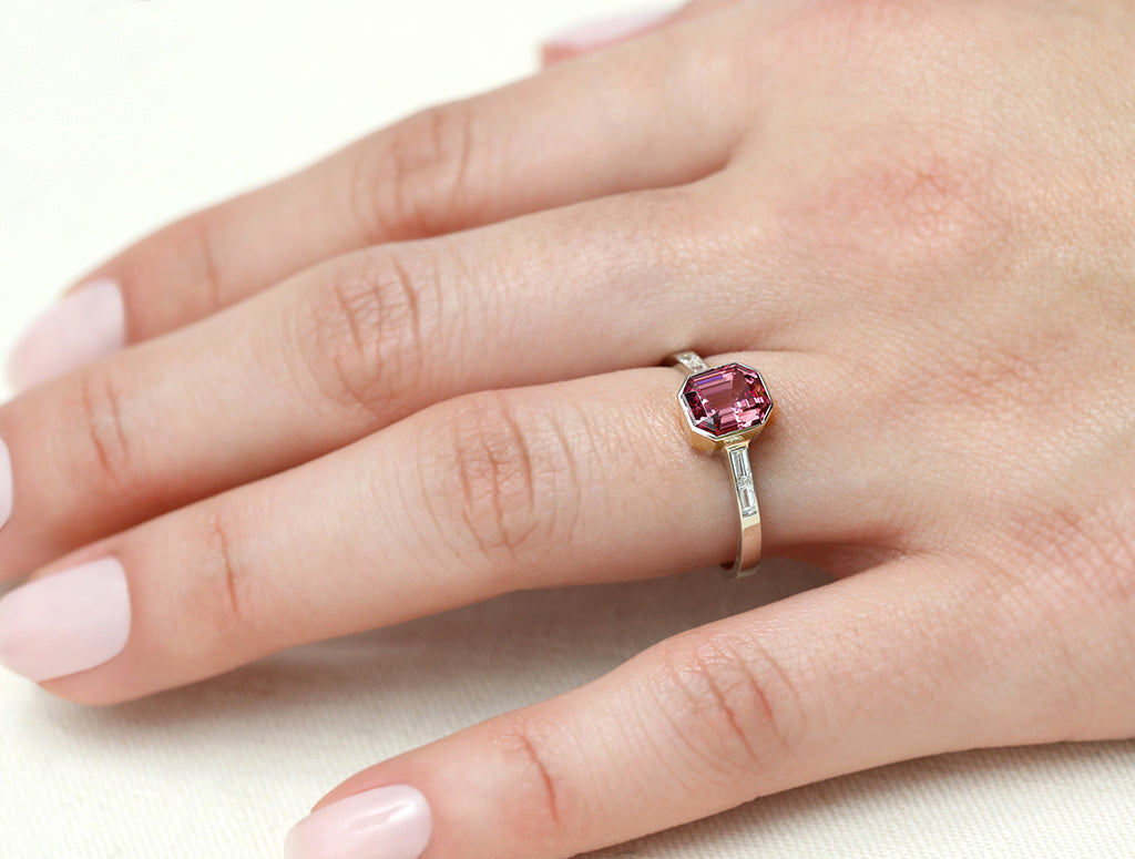 1.48ct Mahenge Garnet Baguette White Diamond Bezel Ring