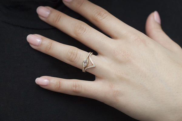 Yellow Gold Pavé Diamond Triangle Band