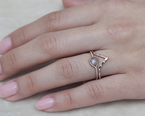0.34-carat Pear Rose-cut Grey Diamond & Rose Gold Ring