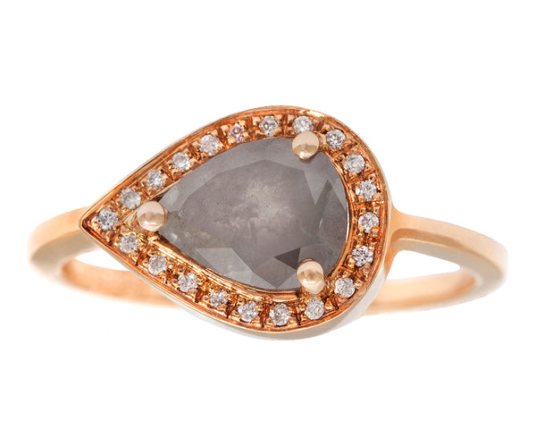0.83ct Pear Grey Diamond White Diamond Halo Pavé & Rose Gold Bezel Ring