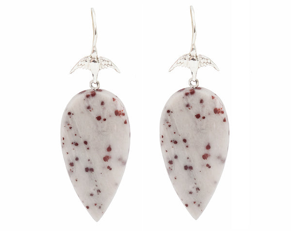 Red Freckle Dolomite Drops & Sterling Silver Bird Hook Earrings