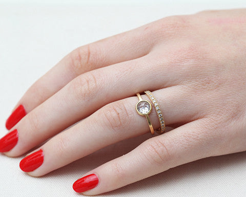 0.50 Carat Round Rose-cut Grey Diamond & Yellow Gold Wire Ring