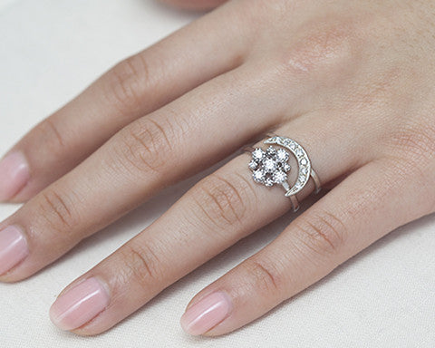 half diamond sunrise rings engagement listing il bohemian moon ring