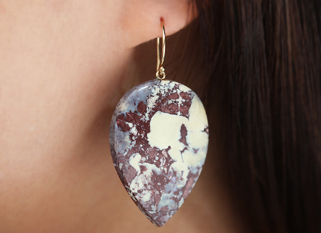Red Viper Jasper Earring & 14K Yellow Gold Earrings