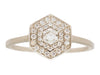 Art Deco Double Halo Hexagon White Diamond Ring