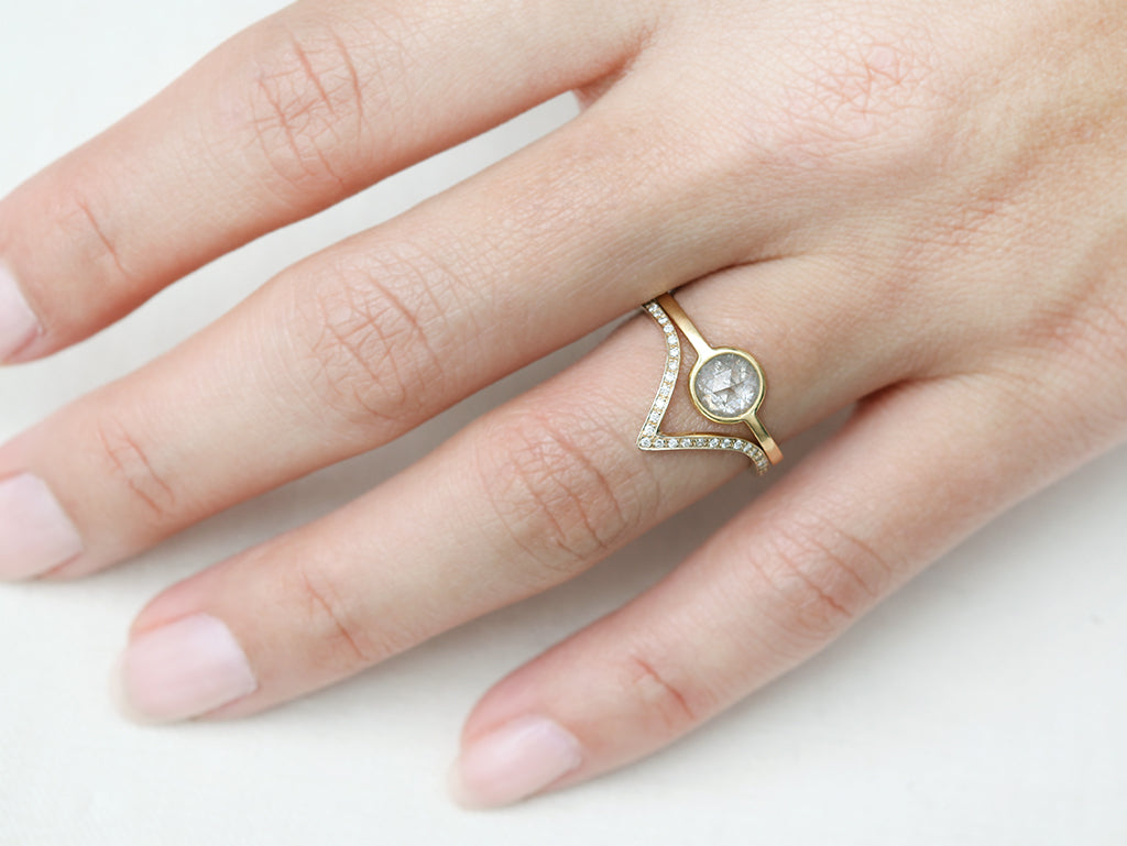 Gold Pavé Diamond Triangle V Band