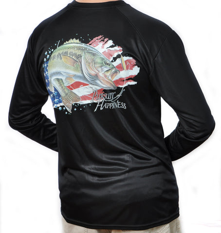 Ultimate Dri Fit Fishing Shirt UPF 30+ Men's Long Sleeve - Bass Black - All-American Fishing - 1