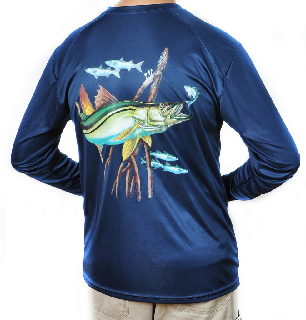 Ultimate Dri Fit Fishing Shirt UPF 30+ Men's Long Sleeve - Snook Navy - All-American Fishing - 1