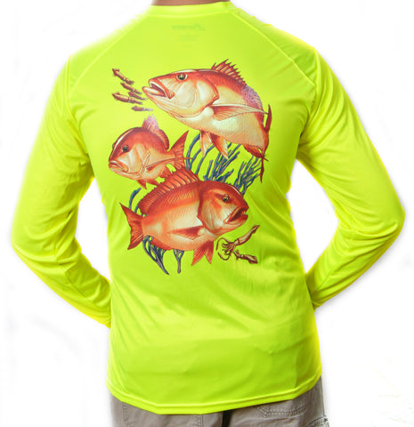 Ultimate Dri Fit Fishing Shirt UPF 30+ Men's Long Sleeve - Red Snapper Yellow - All-American Fishing - 1