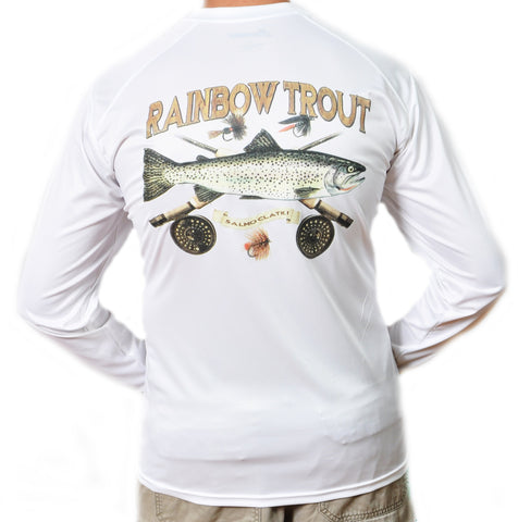 Ultimate Dri Fit Fishing Shirt UPF 30+ Men's Long Sleeve - Trout White - All-American Fishing - 1