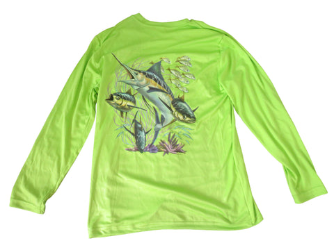 Youth's UPF 30+ Dri Fit Shirt - Green - All-American Fishing - 1