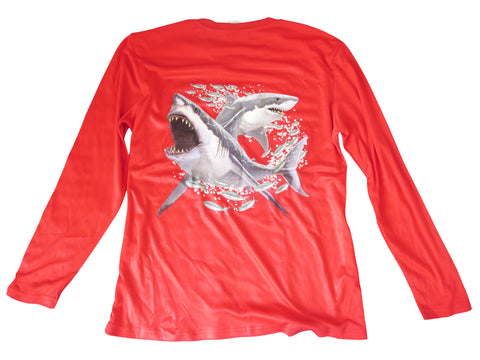 Youth's UPF 30+ Dri Fit Shirt - Red - All-American Fishing - 1