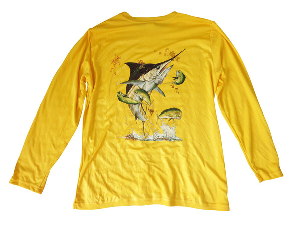 Youth's UPF 30+ Dri Fit Shirt - Yellow - All-American Fishing - 1