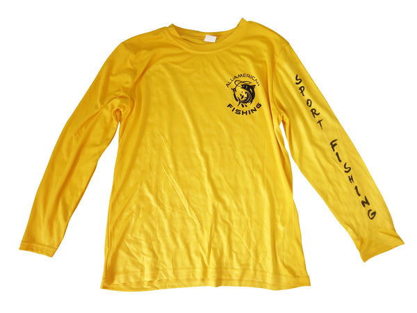 Youth's UPF 30+ Dri Fit Shirt - Yellow - All-American Fishing - 2