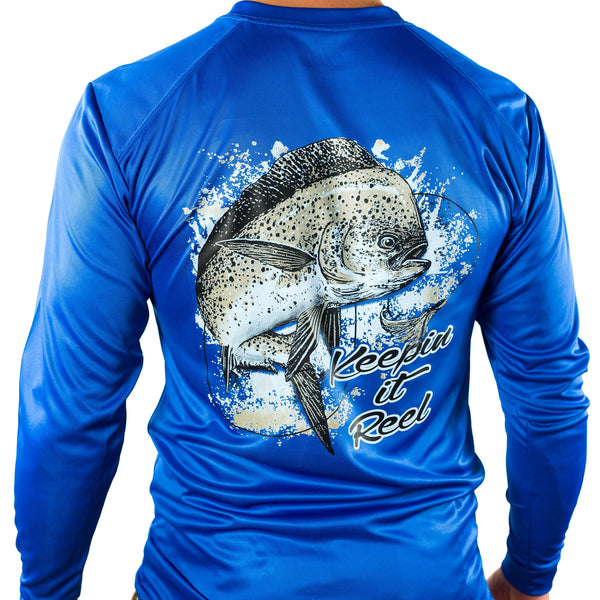 Ultimate Dri Fit Fishing Shirt UPF 30+ Men's Long Sleeve - Mahi Mahi Blue - All-American Fishing - 1