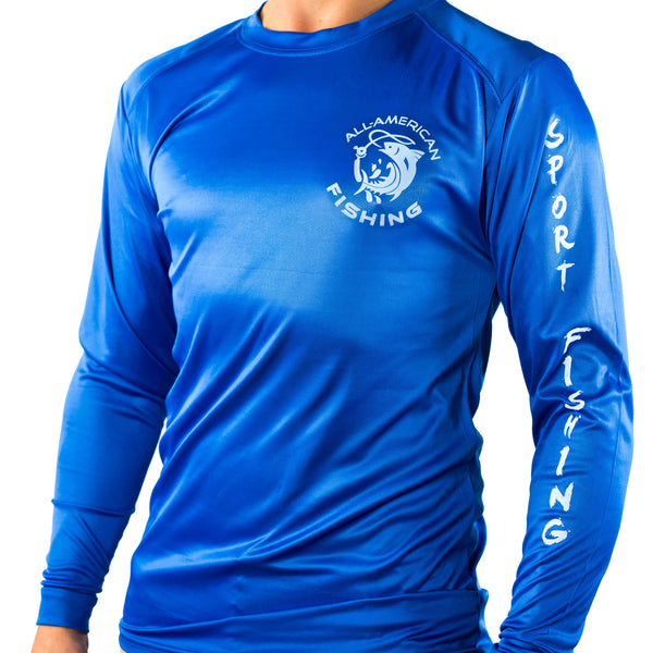 Ultimate Dri Fit Fishing Shirt UPF 30+ Men's Long Sleeve - Mahi Mahi Blue - All-American Fishing - 2