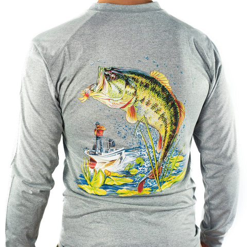 Ultimate Dri Fit Fishing Shirt UPF 30+ Men's Long Sleeve - Bass Gray - All-American Fishing - 1
