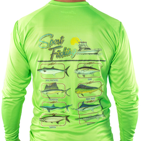 Ultimate Dri Fit Fishing Shirt UPF 30+ Men's Long Sleeve - Pro Green - All-American Fishing - 1