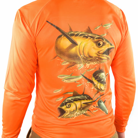 Ultimate Dri Fit Fishing Shirt UPF 30+ Men's Long Sleeve - Tuna Orange - All-American Fishing - 1