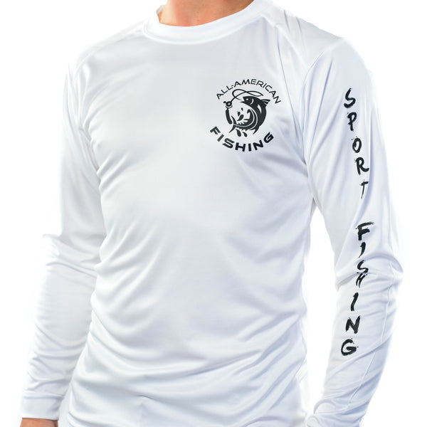 Ultimate Dri Fit Fishing Shirt UPF 30+ Men's Long Sleeve - Trout White - All-American Fishing - 2