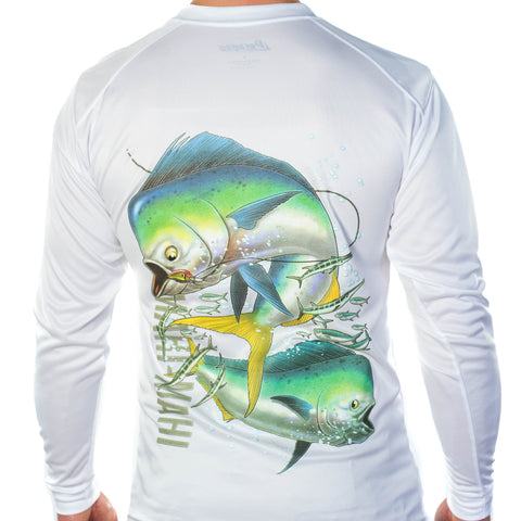 Ultimate Dri Fit Fishing Shirt UPF 30+ Men's Long Sleeve - Mahi Mahi White - All-American Fishing - 1