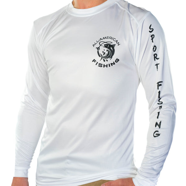 Ultimate Dri Fit Fishing Shirt UPF 30+ Men's Long Sleeve - Mahi Mahi White - All-American Fishing - 2
