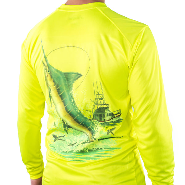 Ultimate Dri Fit Fishing Shirt UPF 30+ Men's Long Sleeve - Marlin Yellow - All-American Fishing - 1