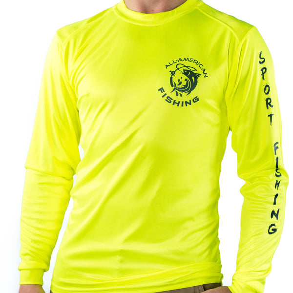 Ultimate Dri Fit Fishing Shirt UPF 30+ Men's Long Sleeve - Marlin Yellow - All-American Fishing - 2