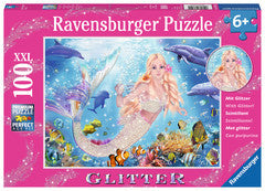 Mermaid & Dolphins 100 pc Glitter Puzzle - Finnegan's Toys & Gifts
