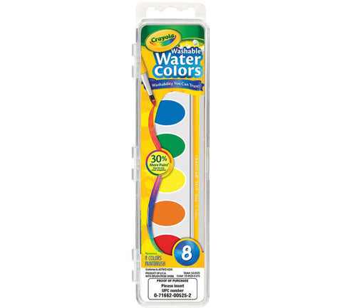 Crayola - Education Watercolors: 8 Colors w/ Paintbrush