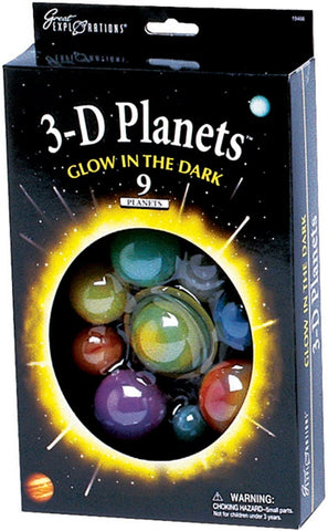 Glowing 3-D Planets