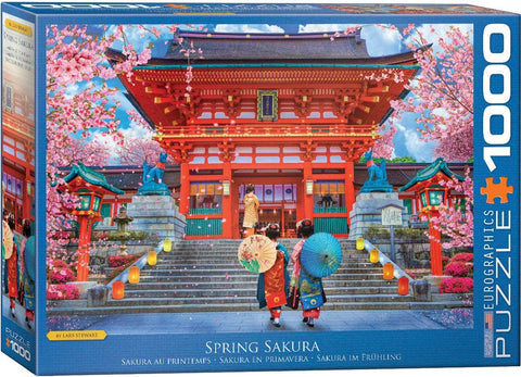 Asia House / Spring Sakura by David McLean 1000 Pc Puzzle