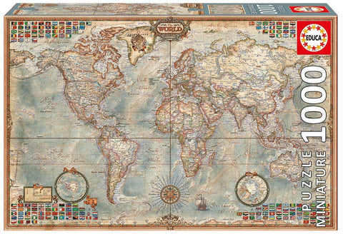 Political Map of the World - 1000 Piece Miniature Puzzle - Finnegan's Toys & Gifts