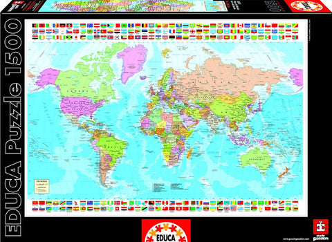 Map of the World - 1500 Piece Puzzle - Finnegan's Toys & Gifts