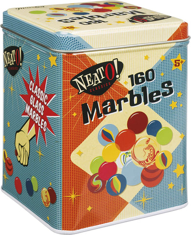 160 Marbles in Tin Box