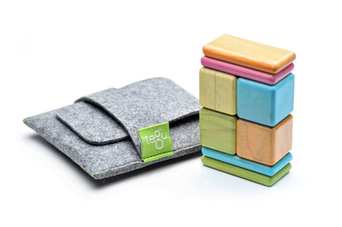 8 Piece Tegu Pocket Pouch Magnetic Wooden Block Set, Tints - Finnegan's Toys & Gifts - 1