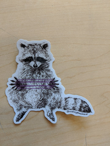 Raccoon with String Sticker