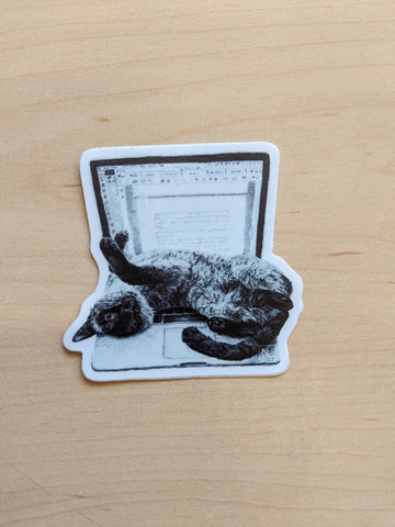 Cat on Laptop Sticker