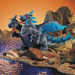 Blue Three-Headed Dragon Puppet - Finnegan's Toys & Gifts