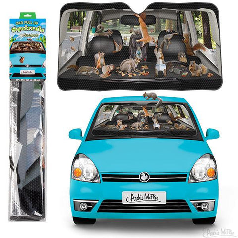 Auto Sunshade - Car Full of Squirrels